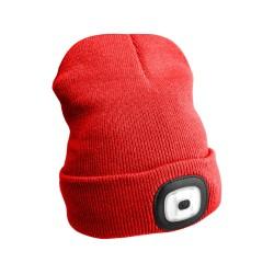 Čepice s čelovkou 180lm, nabíjecí, USB, univerzální velikost, červená SIXTOL
