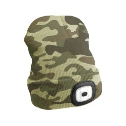 Čepice s čelovkou 180lm, nabíjecí, USB, univerzální velikost, maskáčová SIXTOL