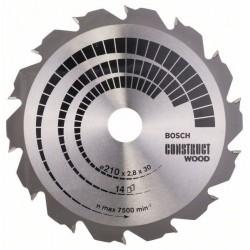Pilový kotouč Construct Wood - 210 x 30 x 2,8 mm, 14 - 3165140194273 BOSCH