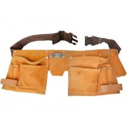 Pás na nářadí kožený, 10 kapes, 2 poutka, háček na svinovací metr EXTOL-CRAFT