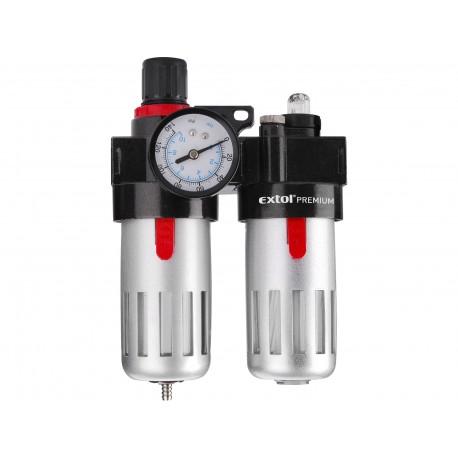 Regulátor tlaku s filtrem a manometrem a přim. oleje, max. prac. tlak 8bar EXTOL-PREMIUM