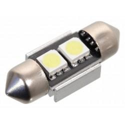 Žárovka 2 SMD LED 12V suf. SV8.5 32mm s rezistorem CAN-BUS ready bílá COMPASS