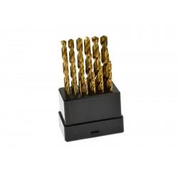 Vrtáky do kovu, sada 19ks, 1-10mm, po 0,5mm, leštěné GEKO
