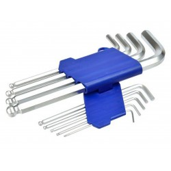 L-klíče imbus, sada 9ks, 1,5-2-2,5-3-4-5-6-8-10mm, s kuličkou, 190mm GEKO
