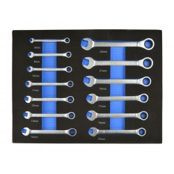 Vložka do zásuvky - kombinované klíče s ráčnou 13ks 12-8mm GEKO
