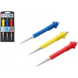 Důlčíky, sada 3ks, 0,8-1,5-2,5mm, délka 125mm, CrV EXTOL-PREMIUM