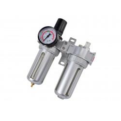 Regulátor tlaku s filtrem a manometrem a přim. oleje, max. prac. tlak 10bar GEKO