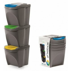 Sada 3 odpadkových košů SORTIBOX šedý kámen 392X293X335 PROSPERPLAST