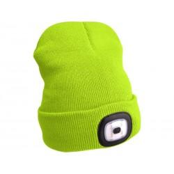 Čepice s čelovkou, nabíjecí, USB, fluorescentní žlutá, univerzální velikost EXTOL-LIGHT