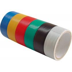 Pásky izolační PVC, sada 6ks, 19mm x 18m (3m x 6ks), tloušťka 0,13mm, 6 barev EXTOL-CRAFT
