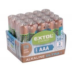 Baterie alkalické EXTOL ENERGY ULTRA +, 20ks, 1,5V AA (LR6) EXTOL-LIGHT