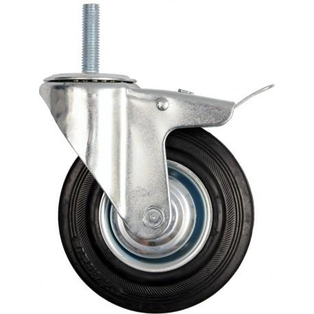 Kolečko otočné s brzdou, gumové se šroubem 100kg 125/33/153mm