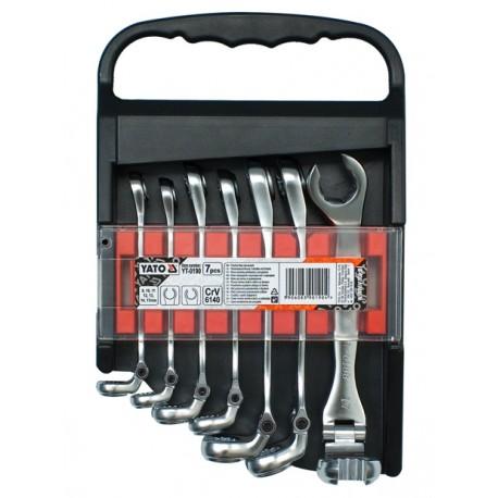 Sada klíčů prstencových 7ks 8-17 mm polootevřené s kloubem