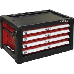 Skříňka dílenská 4 zásuvky 690x465x400mm červená