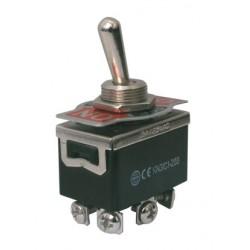 Přepínač páčkový  3pol./6pin  ON-OFF-ON 250V/10A šroub.