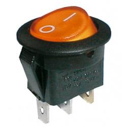 Přepínač kolébkový kul. pros.  2pol./3pin  ON-OFF 250V/6A žlutý