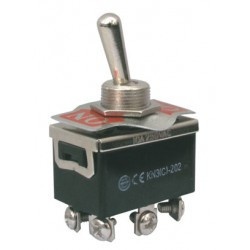 Přepínač páčkový  2pol./6pin  ON-ON 250V/10A šroub.