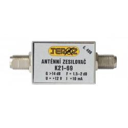 Anténní zesilovač nízkošumový DVB-T Teroz 406X  14dB F-F