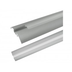 Hliníkový profil AR6 pro LED pásky, k přisazení, s plexi, 2m