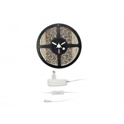 LED světelný pás s testrem, 5m, sada s 12V adaptérem, 4,8W/m, IP65, teplá bílá