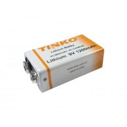 Baterie lithiová 6F22 9V/1200mAh TINKO