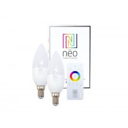 Chytrá WiFi žárovka LED E14 5W bílá teplá IMMAX NEO 07002BD 2ks + dálkový ovladač
