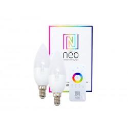 Chytrá WiFi žárovka LED E14 5W RGBW IMMAX NEO 07005BD 2ks + dálkový ovladač