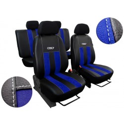 Autopotahy Volkswagen VW Crafter,3 místa, stolek, GT kožené s alcantarou, modré SIXTOL