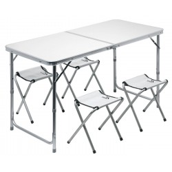 Stůl kemping DOUBLE teleskop. šedý + 4x židlička CATTARA