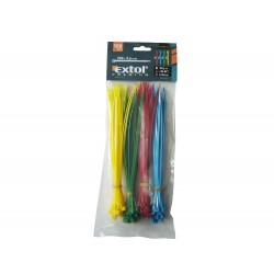 Pásky na vodiče barevné, 200x3,6mm, 100ks, (4x25ks), 4 barvy, NYLON EXTOL-PREMIUM