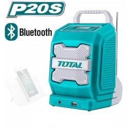 Rádio AKU, 20V Li-ion, 2000mAh, industrial - bez baterie a nabíječky TOTAL