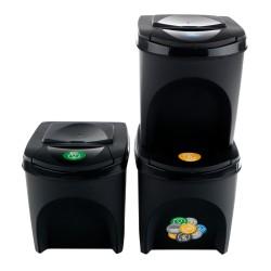 Sada 3 odpadkových košů SORTIBOX ANTRACIT 392X293X335 SADA 3  s černým víkem a nálepkami PROSPERPLAST