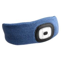 Čelenka s čelovkou 45lm, nabíjecí, USB, univerzální velikost, modrá SIXTOL
